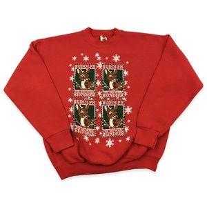 Vintage Christmas Rudolph Reindeer Sweatshirt USA